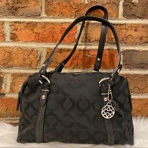 Coach Julia Op Art Small Black Top Handle Bag